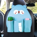 Cute Owl Multi-function Car Seat Back Hanging Pocket Thermal Insulation Storage Bag for Kid - Blue