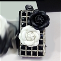 Elegant Cute Camellia Universal Bling Leather Auto Key Bags Key Chain - Black