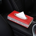 Great Bling Leather Car Tissue Paper Box Holder Case Seat Back Hanging Tissue Bag - Red