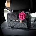 Rose Camellia Leather Auto Tissue Box Holder Case Auto Seat Back Hanging Tissue Bag - Black