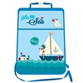 Sailboat Waterproof Kids Car Anti-Kick Pad Seat Back Storage Bag Touchable Screen Organizer Protector - Blue