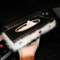 Top Grade Diamond Leather Car Tissue Paper Box Case White Plush Crystal For Office Home Decor - Black