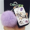 Luxurious Zebra Crystal Genuine Leather Auto Key Bags Pink Fur Ball Key Chain - Black