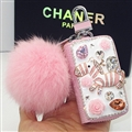 Luxurious Zebra Crystal Genuine Leather Auto Key Bags Pink Fur Ball Key Chain - Pink