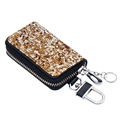 Luxurious Beautiful Crystal Genuine Leather Auto Key Bags Key Chain - Gold
