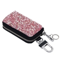 Luxurious Beautiful Crystal Genuine Leather Auto Key Bags Key Chain - Pink