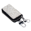 Luxurious Beautiful Crystal Genuine Leather Auto Key Bags Key Chain - White