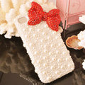 Bling Bowknot Crystal Cases Rhinestone Pearls Covers for iPhone 11 Pro Max - Red