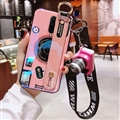 Personality Camera Silicone Lanyard Covers Wristband Back Shell Soft Cases For iPhone 11 Pro Max - Pink